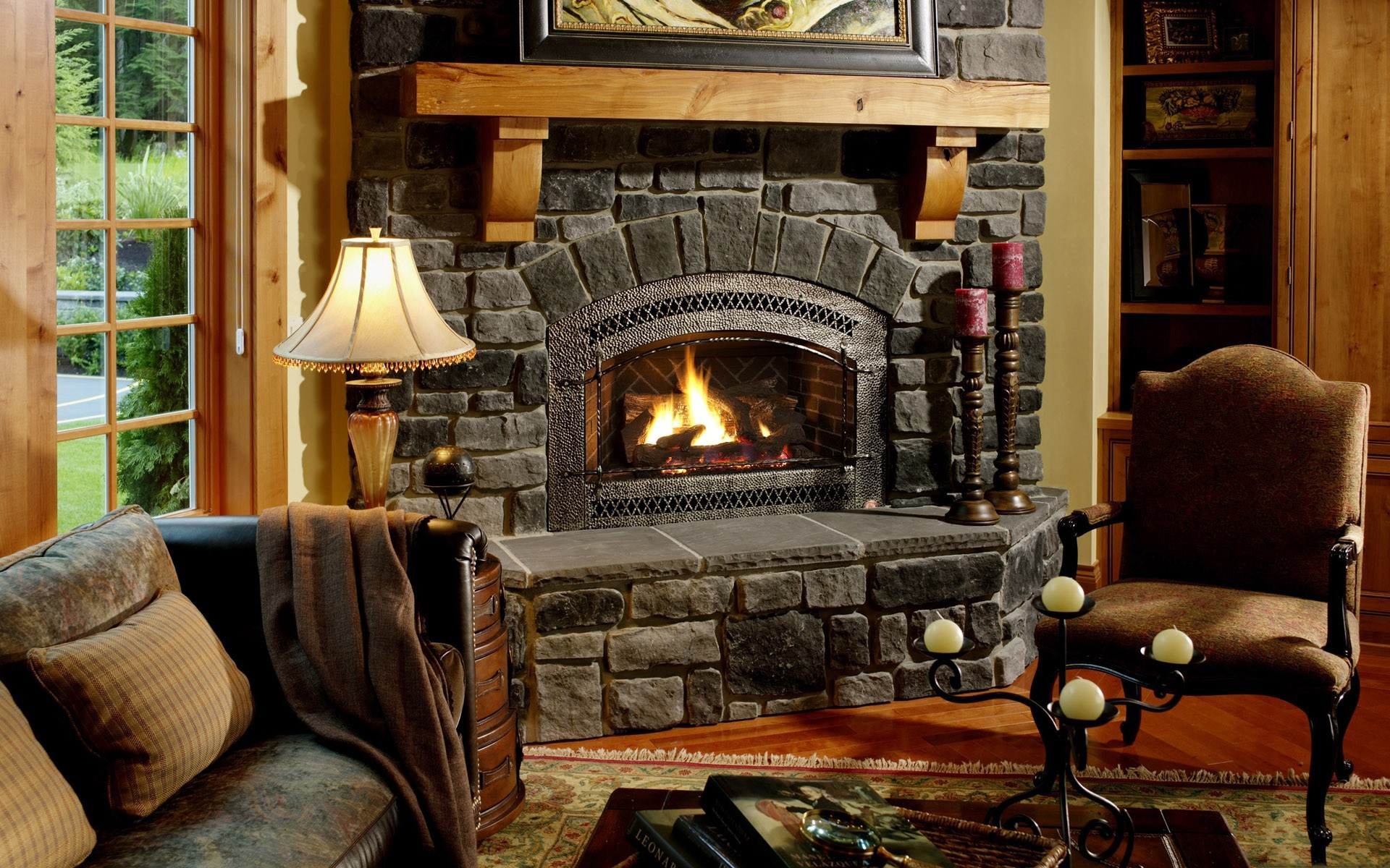 Cached Pictures of lit fireplaces